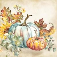 Framed Watercolor Harvest Pumpkin III