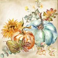 Framed Watercolor Harvest Pumpkin IV