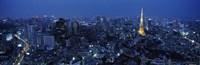 Framed Tower Lit Up At Dusk In A City, Tokyo Tower, Japan