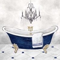 Framed Navy Blue Bath II