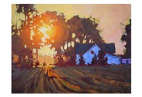 Framed Sunrise Over Farmhouse