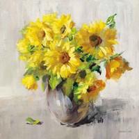 Framed Sunflower Still Life II on Gray