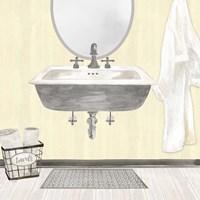 Framed Farmhouse Bath II Gray & Yellow 2-Sink