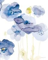Framed Delicate Poppies II Blue