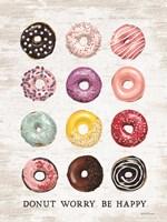 Framed Donut Worry - Be Happy