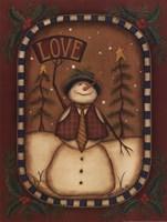 Framed Love Snowman