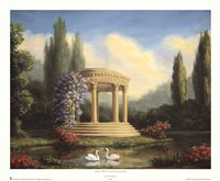 Framed Garden with Swans and Gazebo