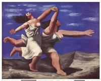 Framed Deux Femmes Courant sur la Plage