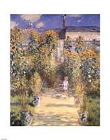 Framed Artist's Garden at Vetheuil with Boy, c.1880