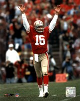 Framed Joe Montana - celebrating touchdown