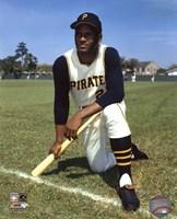 Framed Roberto Clemente - posed baseball