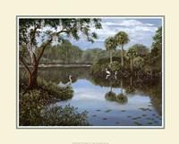 Framed Three Cranes Swamp