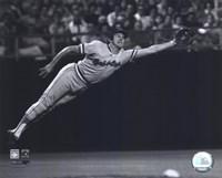 Framed Brooks Robinson - 1973 Diving Catch, B&W