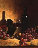 Framed Wine Bottle, Grapes and Walnuts