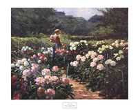 Framed Woman in a Garden of Peonies