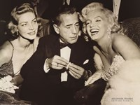 Framed Hollywood Triangle (Bacall, Bogart, Monroe)
