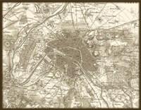Framed Sepia Map Of Paris