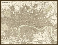 Framed Sepia Map Of London
