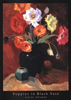 Framed Poppies in Black Vase