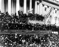 Framed President Abraham Lincoln gives his inaugural speech during his second inauguration on March 4th 1865