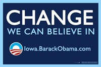 Framed Barack Obama - (Change, Iowa) Campaign Poster