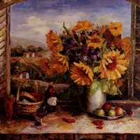 Framed Sunflowers With Fruit And Wine II
