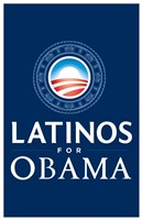 Framed Barack Obama - (Latinos for Obama) Campaign Poster