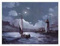Framed Moonlit Sail