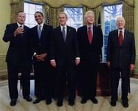 Framed Presidents Bush Senior, Obama, Clinton, Bush and Carter