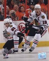 Framed Patrick Kane & Jonathan Toews 2009-10 NHL Stanley Cup Finals Game 3 Action (#11)