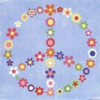 Framed Peace Flowers I