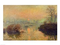 Framed Sun Setting over the Seine at Lavacourt. Winter Effect, 1880