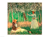 Framed In the Woods at Giverny: Blanche Hoschede at her easel with Suzanne Hoschede reading, 1887