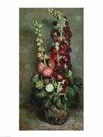 Framed Vase of Hollyhocks, 1886