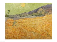 Framed Wheatfield with Reaper, 1889