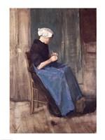Framed Young Scheveningen Woman Knitting, Facing Right