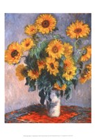 Framed Vase of Sunflowers