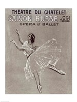 Framed Poster for the 'Saison Russe' at the Theatre du Chatelet, 1909