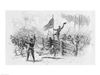 Framed Capture of a part of the burning union breastworks on the Brock Road on the afternoon of May 6th