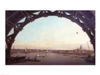 Framed London seen through an arch of Westminster Bridge