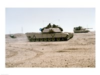 Framed Kuwait: Two M-141 Abrams Main Battle Tanks