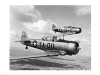 Framed Side profile of two fighter planes in flight, AT-6 Texan