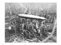 Framed USS Los Angeles Airship Over Manhattan