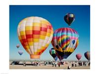 Framed Hot air balloons taking off, Balloon Fiesta, Albuquerque, New Mexico