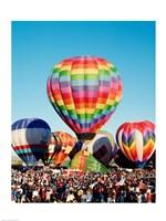 Framed Floating hot air balloons, Albuquerque International Balloon Fiesta, Albuquerque, New Mexico, USA