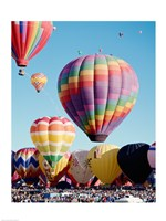 Framed Low angle view of hot air balloons in the sky, Albuquerque International Balloon Fiesta, Albuquerque, New Mexico, USA