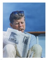 Framed President Kennedy Reading the New York Times