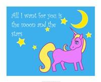 Framed Moon and Stars Unicorn