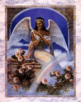 Framed Black Angel with Rainbow