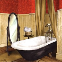Framed Red Farmhouse Bath II